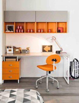 Παιδικό-γραφείο-λευκό-με-πορτοκαλί-συρταριέρα